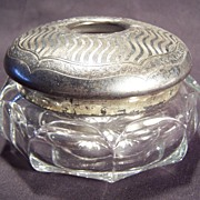 SALE Heisey Glass & Silver Dresser Hair Receiver