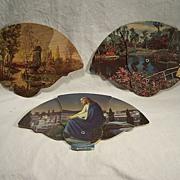 SALE 3 Vintage Foldout Cardboard Advertising Fans