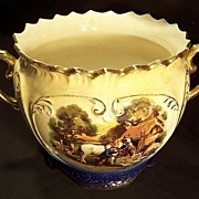 SALE Flow Blue Jardiniere with Gold accents and Floral & English Farm scenes