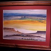 SALE Native American Navajo Watercolor Sunrise Painting