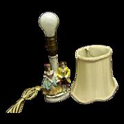SALE Porcelain German Gimbel Figural Boudoir Lamp--silk shade