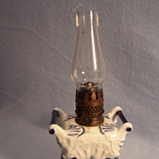 SALE Miniature Porcelain Boudoir Oil Lamp