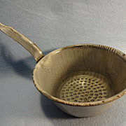 Grey enamelware/graniteware handled strainer-Clean-Rust Free