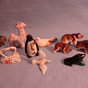 SALE Ten Miniatures; Bears; Camel; Penguin; Frog; Rooster; Bird; Dove