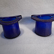 SALE Vintage Cobalt Blue Glass Top Hat Ashtrays or Toothpick Holders