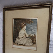 SOLD Vintage Contemplative Young Girl Litho   signed P.Paget