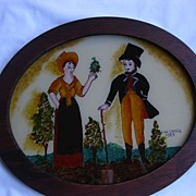 SALE Wonderful Reverse Painting  in Oval Frame