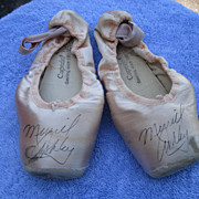 Autographed Pink Ballet Slippers of Merrill Ashley Principal Dancer of New York Ballet Under t