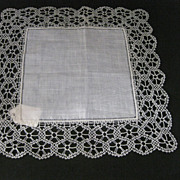 Off White Linen Handkerchief with Hand Made Bobbin Lace