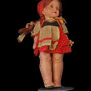 Papier Mache  Doll  With Hard Plastic Head