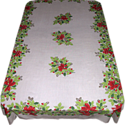 SALE Large Vintage Christmas Tablecloth ~ Bells, Bows & Holly