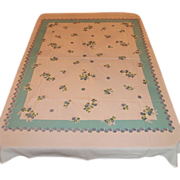 Large Vintage Tablecloth ~ Aqua w/ Navy Blue Mums ~ Med Weight