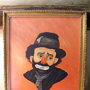 SALE Clown Portrait dated 1983 Oil on Canvas (2 of 3)