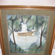 Vintage Original Watercolor of sailboat in secluded harbor - signed