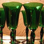 SALE Vintage Set of 10 Emerald Green Cordials