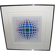 SALE Victor Vasarely Vega in Blue Hand Signed Numbered Serigraph limited edition of 250