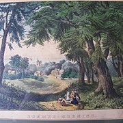 "SALE Antique Currier & Ives Lithograph ""Summer Morning"""