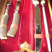 SALE 4 Piece Antler Handled Carving Set in zippered case