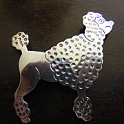 SALE .925 Sterling Silver Poodle Brooch Pin Mexico