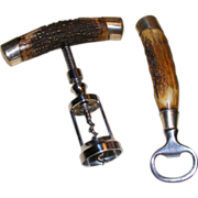 Antler and Sterling Corkscrew and Bottle Opener