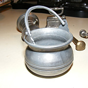 SALE Collection of 6 Small Pewter Toy Items including Petrato Cauldron
