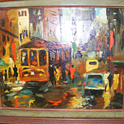 SALE New Orleans Street Scene 1950's Oil Painting by E. Roy Ezell