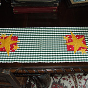 SALE Hand Woven Folk Art Table Runner with Stars by Calico Collectables