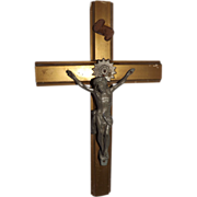 Vintage Crucifix with Cast Metal Jesus