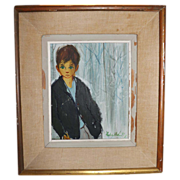 SALE Vintage 1951 Oil Painting of a Young Boy