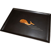 Vintage Couroc Whale Large Serving Tray