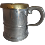 SOLD c. 1840 Pint Pewter Measure Tankard with Brass Rim