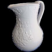 Vintage Bordallo Pinheiro White Porcelain Water Pitcher