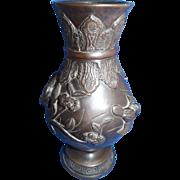 Beautiful Meiji Period Japanese Bronze Vase
