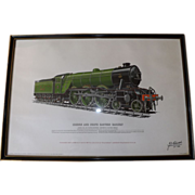 Hand Signed & Numbered Flying Scotsman Railroad Lithograph 1969