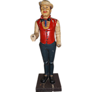 Awesome Wood Carved Folk Art Statue of a British Man in a Bowler Hat