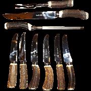 Lewis Rose & Co. Antler Handle Carving Set & Steak Knives