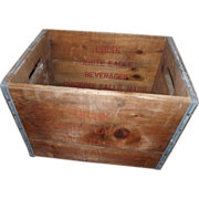 Antique White Eagle Beverages Wood Drink Crate