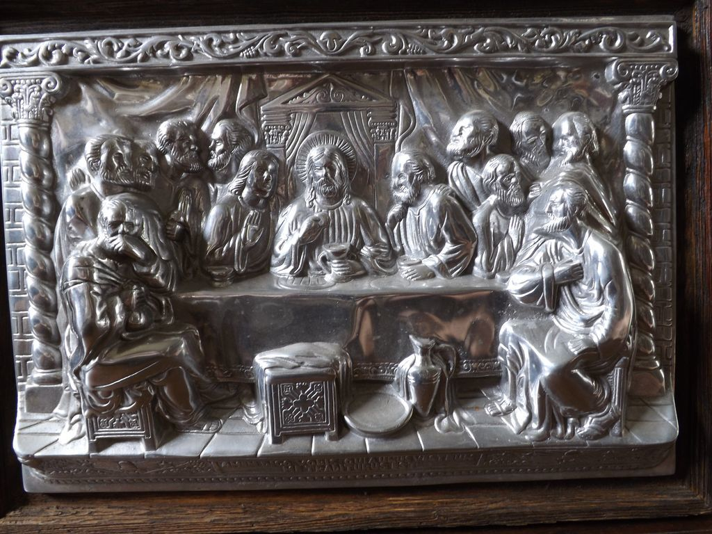 Vintage Heavy Pewter Last Supper Relief Wall Hanging From