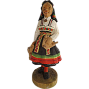 Hand Carved Wood Dutch Milk Maid