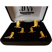 SALE J.J. Weston Formal Set - Cufflinks and Studs- Gold Plates Cowboy Boots
