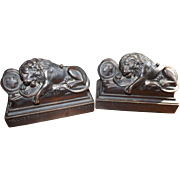 SOLD Pair Antique Hand Carved Mahogany Lion of Lucerne Book Ends