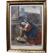 "Antique Hand Colored Photoengraved Small Print ""Virgin adoring the Infant Christ"""