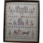 Antique Needlepoint Folk Art Sampler