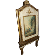 Vintage Florentine Painted Wood Picture on Easel