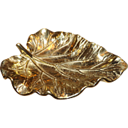 Virginia Metalcrafters Cast Brass Leaf Dish Vintage 1940's