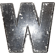 """Vintage Metal """"W"""" sign by Wagner Sign Service"""
