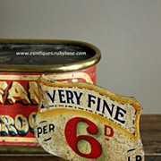 SOLD Antique English Grocer's Painted Tin PRICE SIGN - 19th Century Victorian Shop Advertising