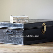 Vintage Industrial-English Painted Metal Storage Trunk / Box