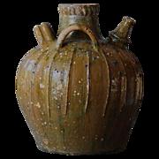 SOLD Antique French Walnut Oil Jar - 19th Century Earthenware Storage Urn / Pot