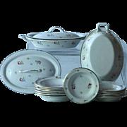 SOLD Antique French Miniature Enamelware Dinner Service - Toy Enamel Dinner Set